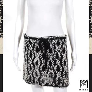 MILLY Blk/Wht Woven Acrylic Knit Tie Belt Skirt